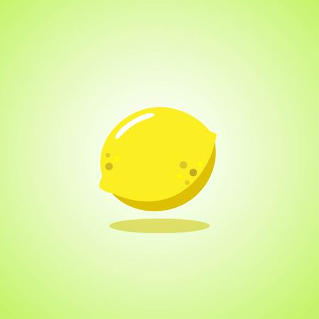 Yellow lemon icon isolated on green background. Vector illustration