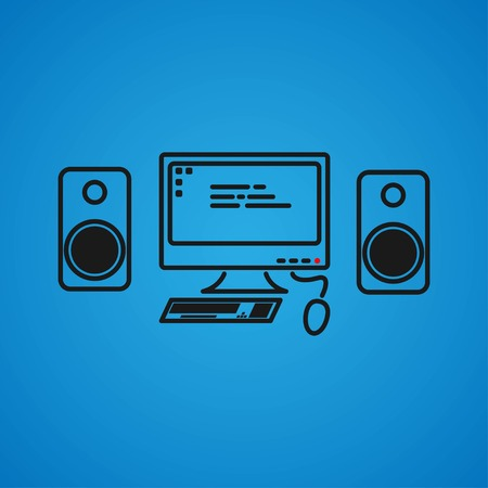 Isometric vector set of computer and keyboard, speakers and mouse. PC miniatures. Vector illustration EPS 10. Stock Vector - 124782709