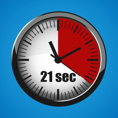 Seventeen Seconds Clock on blue background. Clock 3d icon. Stopwatch icon. Stock Vector - 124782710