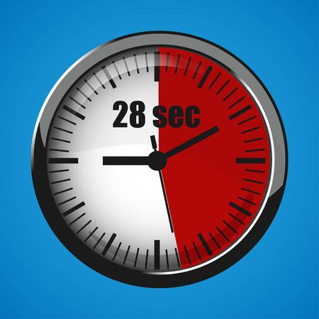 Seventeen Seconds Clock on blue background. Clock 3d icon. Stopwatch icon. Stock Vector - 124782712