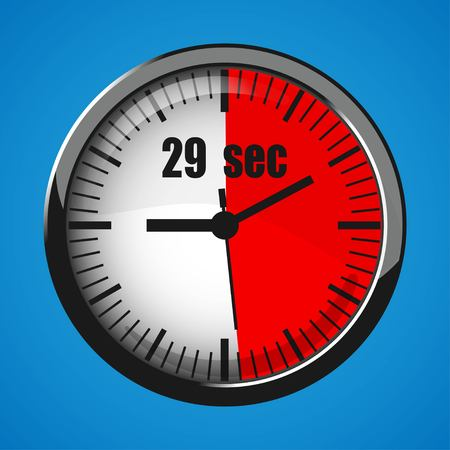 Seventeen Seconds Clock on blue background. Clock 3d icon. Stopwatch icon. Stock Vector - 124782713
