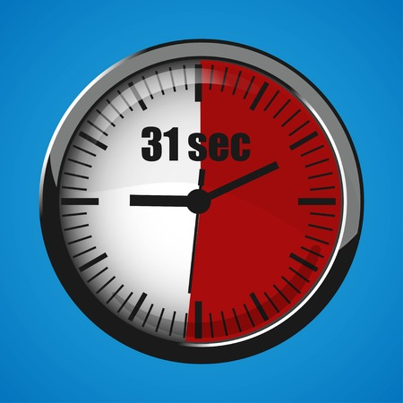 Seventeen Seconds Clock on blue background. Clock 3d icon. Stopwatch icon.