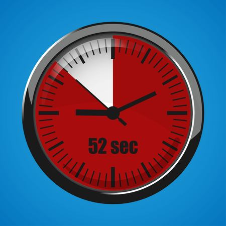 Seventeen Seconds Clock on blue background. Clock 3d icon. Stopwatch icon. Stock Vector - 124782717