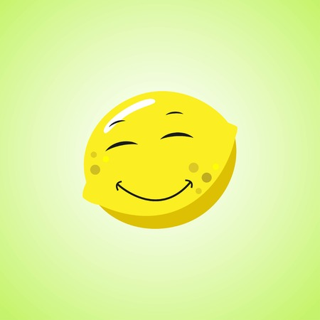 Simple Smiling lemon with closed eyes Cartoon Character. Cute smiling lemonicon isolated on green background. Vector illustration