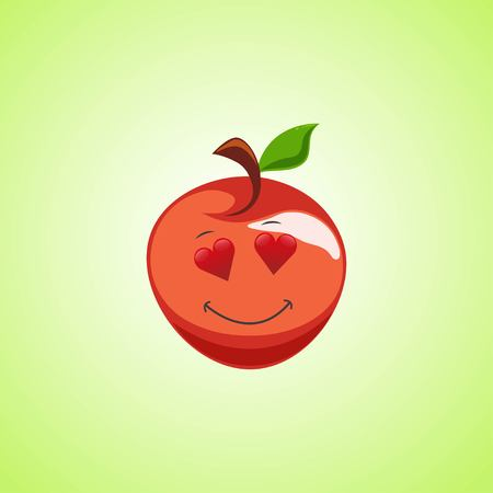 Amorous cartoon red apple symbol. Cute smiling apple icon isolated on green background. Vector illustration EPS 10