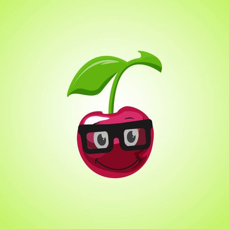 Simple smile cartoon cherry symbol in glasses. Cute smiling cherry icon isolated on green background. Vector illustration EPS 10