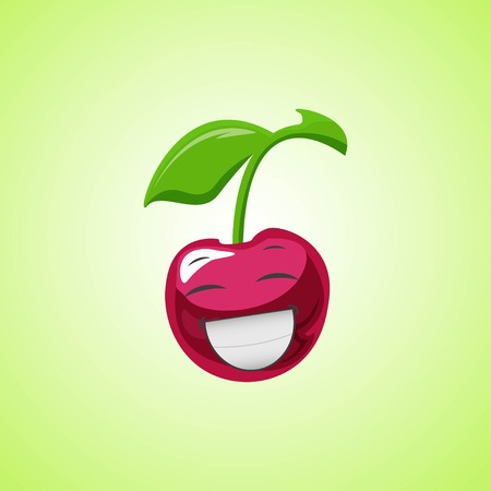 White laughing cartoon cherry symbol. Cute smiling cherry icon isolated on green background. Vector illustration EPS 10