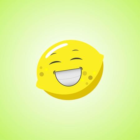 White laughing cartoon lemon symbol. Cute smiling lemon icon isolated on green background. Vector illustration Illustration
