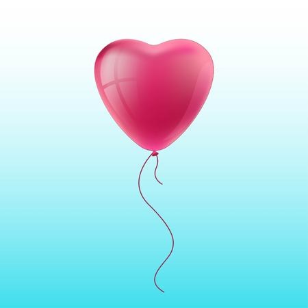 Glossy pink balloon vector illustration on blue background. Glossy realistic baloon in heart form for party and holiday. Vector illustration EPS 10.