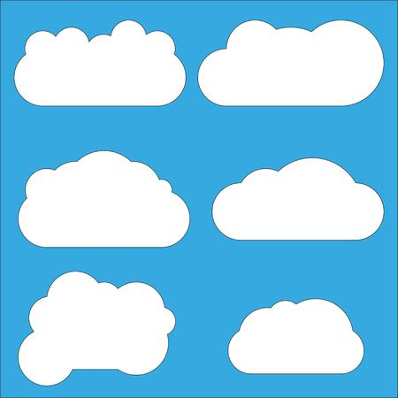 Set of Cloud icons in flat style isolated on blue background. Cloud symbol for your web site design, logo, app, UI. Cloud icon, cloud shape. Vector illustration EPS10 Illustration