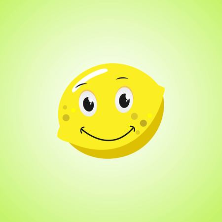 Yellow Simple Smiling Lemon Cartoon Character. Cute smiling lemon icon Isolated On Green Background. Vector illustration EPS 10.
