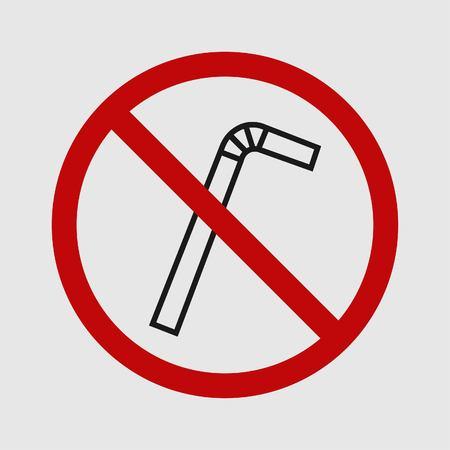 Single useplastic straw. Plastic pipe icon.Simple design. Stop using plastic campaign. Vector illustration EPS 10. Stock Vector - 124782724