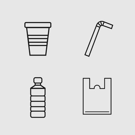 Single use plastic set, bag, straw, cup and bottle. Simple design. Vector illustration Illustration