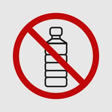 Single use plastic bottle. Simple design. Stop using Plastic campaign. Vector illustration EPS 10. Illustration