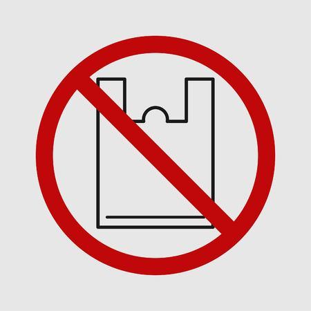 Single use plastic bag. Simple design. Stop using Plastic campaign. Vector illustration EPS 10.