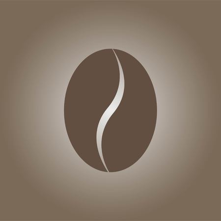 Coffee bean icon isolated on brown background. Vector illustration.