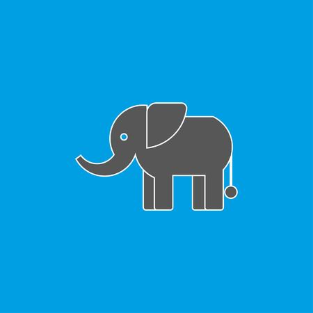 Standing Elephant silhouette on blue background. Icon elephant in flat design. Vector illustration EPS 10. Stock Vector - 124782735