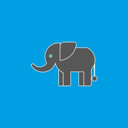 Standing Elephant silhouette on blue background. Icon elephant in flat design. Vector illustration EPS 10. Illustration