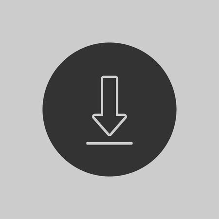 Download icon in flat design on gray background. Vector illustration EPS 10.
