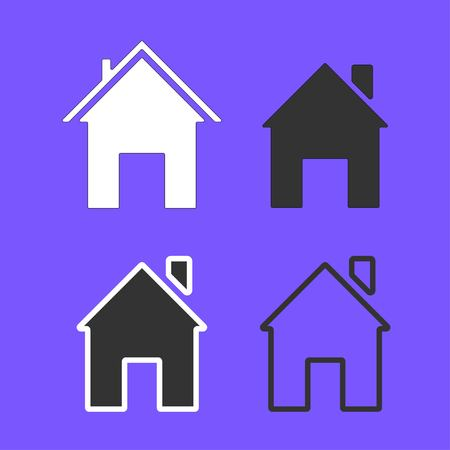 Set of line icons representing house isolated on violet background. House and home simple symbols. Vector illustration EPS 10.