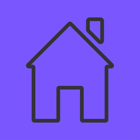 Line icon representing house isolated on violet background. House and home simple symbol. Vector illustration EPS 10. Stock Vector - 124782740