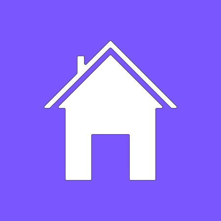 Home icon isolated on violet background. White symbol for your design. Vector illustration, easy to edit. Vector illustration