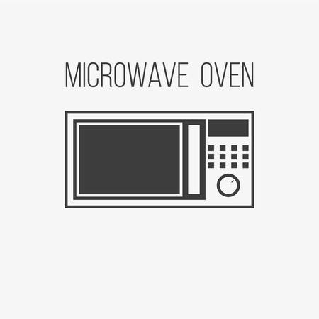 Microwave icon from appliances set. Cook in microwave oven icon. Kitchen electric stove symbol. Gray flat button isolated on gray background. Illustration