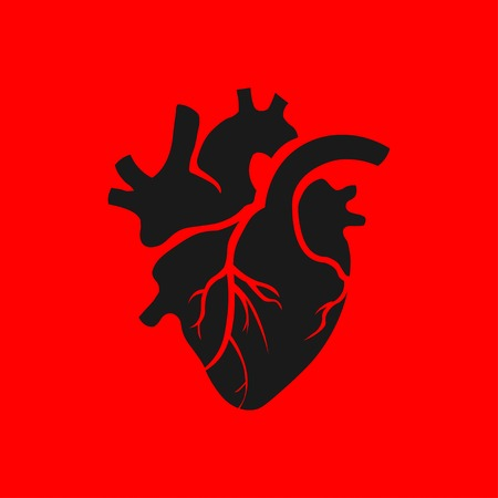Isolated black human heart illustration on red background. Heart icon in flat style. St. Valentines Day. Be my Valentine.