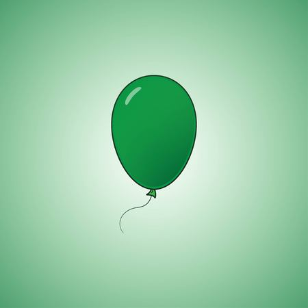 Green balloon in cartoon flat style isolated on green background. Balloon icon. Vector illustration EPS 10. Stock Vector - 124782743