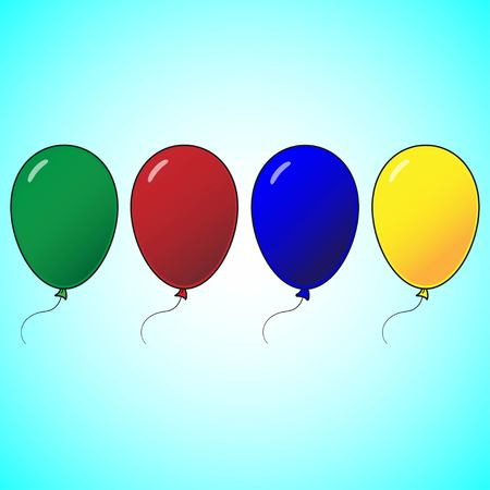 Set of balloons in cartoon flat style isolated on blue background. Green, red, yellow, blue ballons. Balloons icon. Illustration