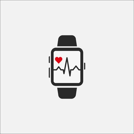 A smart clock with a picture of the heart rate on the screen isolated on a gray background. Watch icon. Heartbeat line. Vector illustration EPS 10. Stock Vector - 124782744