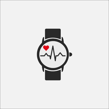 A smart clock with a picture of the heart rate on the screen isolated on a gray background. Watch icon. Heartbeat cardiogram. Stock Vector - 124820184