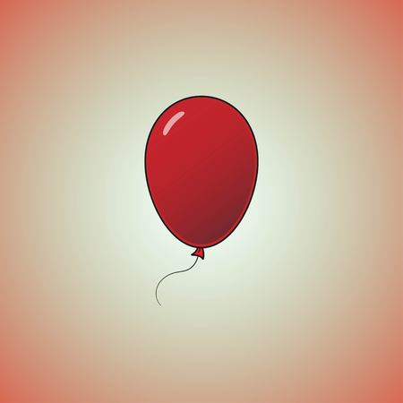 Red balloon in cartoon flat style isolated on red background. Balloon icon.