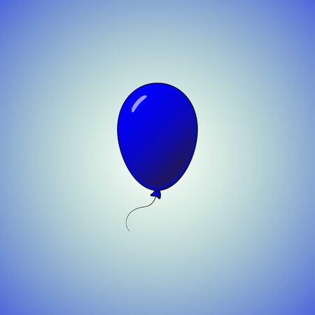 Blue balloon in cartoon flat style isolated on Blue background. Balloon icon.