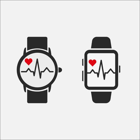 A smart clock with a picture of the heart rate on the screen isolated on a gray background. Watch icon. Heartbeat line. Two oprion. Vector illustration EPS 10.