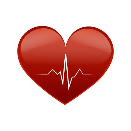 Heart pulse. Red and white colors. Heartbeat lone, cardiogram. Beautiful healthcare, medical background. Vector illustration EPS 10. Illustration