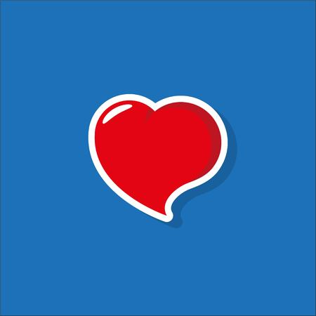Heart Icon Vector. Perfect Love symbol. Valentines Day sign, emblem isolated on blue background with shadow.