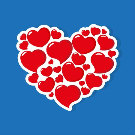 Set of Hearts Icon Vector. Valentines Day sign, emblem isolated on blue background with shadow. Flat style for graphic and web design, logo. Heart of hearts. Vector illustration EPS10 Illustration