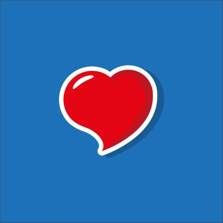 Heart Icon Vector. Valentines Day sign, emblem isolated on blue background with shadow. Flat style for graphic and web design