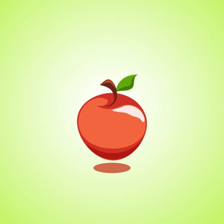 Red apple icon isolated on green background. Vector illustration EPS 10. Illustration