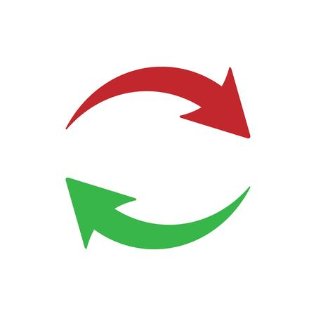 Update icon on white background. Red and green arrows. update icon from media. Trendy update icon for web and mobil. Vector illustration EPS 10.