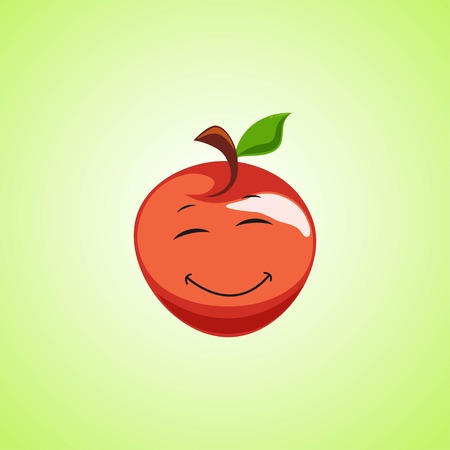 Red Simple Smiling apple with closed eyes Cartoon Character. Cute smiling moon icon isolated on green background. Vector illustration EPS 10.