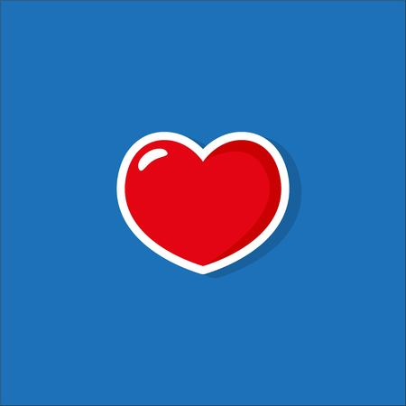 Heart Icon Vector. Perfect Love symbol. Valentines Day sign, emblem isolated on blue background with shadow. Flat style for graphic and web design