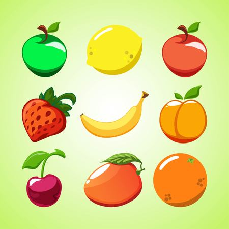 Creative layout of fruit and berries. Red and green apples, strawberries, lemon, orange, cherry, peach, mango and banana on a green background. Vector illustration