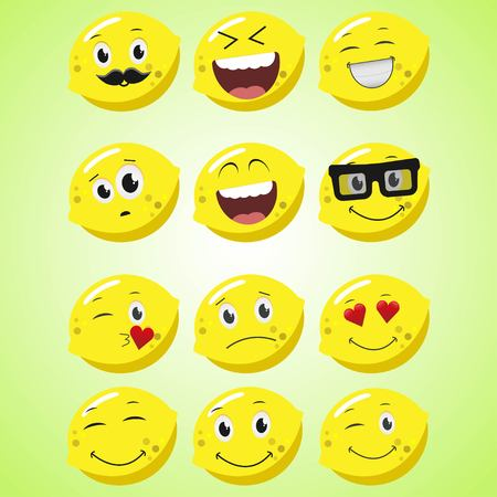 A set of simple smiling lemon. A cartoon character. Cute smiling lemon icon isolated on green background. Vector illustration