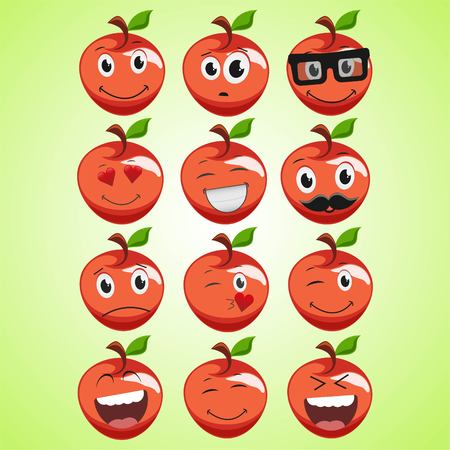 A set of simple smiling red apple. A cartoon character. Cute smiling apple icon isolated on green background. Vector illustration EPS 10.