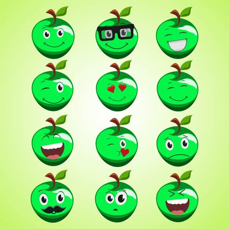 A set of simple smiling green apple. A cartoon character. Cute smiling apple icon isolated on green background. Vector illustration EPS 10.