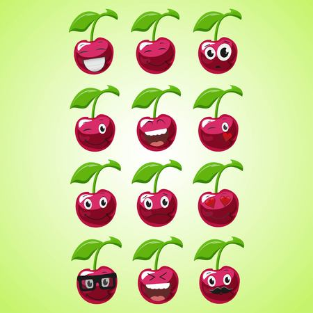 A set of simple smiling cherry. A cartoon character. Cute smiling cherry icon isolated on green background. Vector illustration EPS 10.