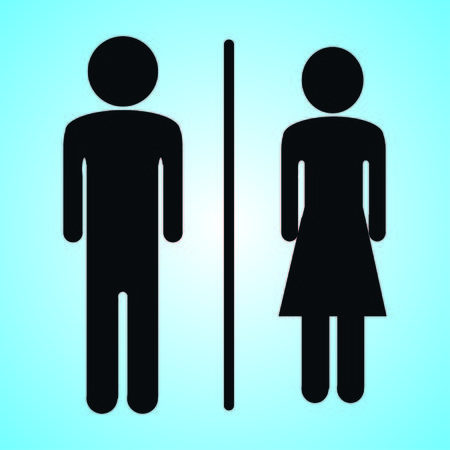 Wc icon. Toilet and restroom icon. Male,female symbol. Bathroom vector. Door and plate symbol. Linear style sign for mobile concept and web design. Vector illustration Stock Vector - 124820195