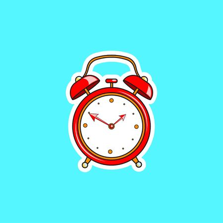 Red comic alarm clock. Vector bright dynamic cartoon object in retro pop art style isolated on blue background. Vector illustration EPS 10.